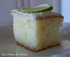 Key Lime Pie Poke Cake ~    It is a super easy recipe and makes a delightful dessert anytime.    Recipe @  http://www.zuhausathome.com/key-lime-pie-poke-cake/