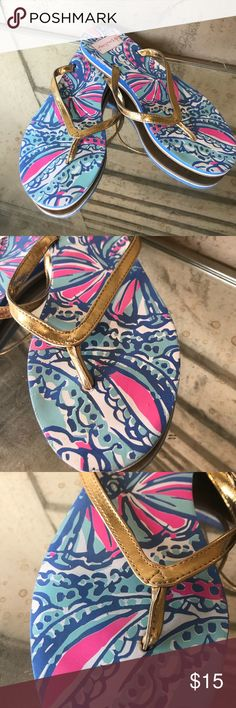 Lilly Pulitzer for Target Flip Flips Lightly worn flip flops in excellent condition. These cute blue my fans floral sandals with gold straps. Lilly Pulitzer for Target Shoes