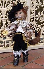 puss n boots Cloth Doll, Patterns by Suzette Rugolo