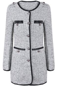 Light Grey Long Sleeve Contrast PU Leather Trims Coat - Sheinside.com