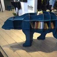 Junior Bear Bookcase (in White/Blue/Black) by ibride