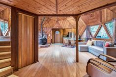 """This one-of-a-kind """"Dome Home"""" features impressive woodwork and a groovy, geodesic design. Sustainable Architecture, Residential Architecture, Contemporary Architecture, Geodesic Dome Homes, Light Hardwood Floors, Wood Flooring, Living Roofs, Unique House Design, Dome House"""
