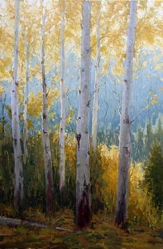 October's Colors by Kathleen Dunphy Oil ~ 30 x 20 Landscape Art, Landscape Paintings, Birch Tree Art, Autumn Painting, Watercolor Trees, Paintings I Love, Oil Paintings, Aspen, Gravure