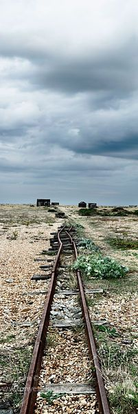 Disused railway track on the beach at Dungeness in Kent, england www.tonyeveling.com