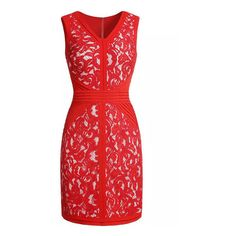 Red V Neck Sleeveless Lace Slim Dress (73 CAD) ❤ liked on Polyvore featuring dresses, red dress, sleeveless dress, v neckline dress, lacy dress i no sleeve dress