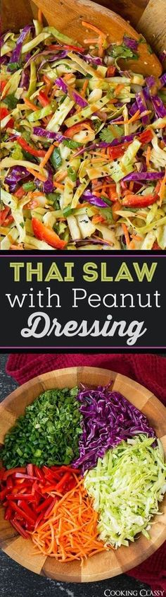 Thai Slaw with Peanut Dressing Salad Recipe via Cooking Classy - easy side dish that's perfect with grilled chicken! Love this dressing!! Vegetarian Recipes, Cooking Recipes, Healthy Recipes, Vegetarian Salad, Easy Cooking, Grilling Recipes, Healthy Tips, Free Recipes, Clean Eating