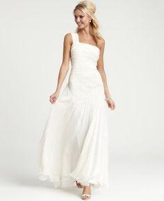 Silk Georgette Radiating Pleats One Shoulder Wedding Gown