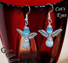 Job's Tears Birthstone Angel Earrings with Cat's by GooseCreekGems