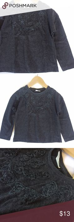 4T• Zara Charcoal Long Sleeve Worn once washed and line dried • Pretty embroidery on top • Material is not thin and not too thick • Cute with skirts and boots • Zara Shirts & Tops Tees - Long Sleeve