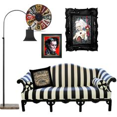 """""""Gothic Home decor"""" by shayne-bohner on Polyvore. I'm loving the """"Beetlejuice"""" couch!"""