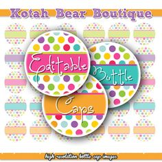 INSTANT DOWNLOAD Editable Bottle Cap Images Digital Collage Sheet Bottlecap Images Hair Bow Supplies Editable Colored Polka Dots Sheet No.10 on Etsy, $2.50