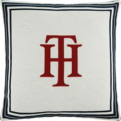 Tommy Hilfiger Marine Cushion - 40x40cm - White featuring polyvore home home decor throw pillows white accent pillows tommy hilfiger cotton throw pillows white home accessories white throw pillows