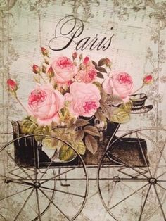 Free freebie printable vintage French flower cart with roses