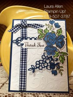 "I made a few thank you cards with the ""Petal Palette"" stamp set  and the ""Petals & More"" thinlits dies from Stampin Up! I used the new Stampin Blends to color the cards."