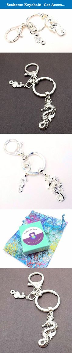 Seahorse Keychain -Car Accessory- Silver-plate - Men/Woman -Ocean Lovers Collection. This stunning accessory features both large and small seahorses in silver-plate. It makes the perfect stocking stuffer or gift for a co-worker or friend. This keychain itself is composed of a 1.25 inch clasp in silver-plate with match ring 1.15 in diameter and swivel ring. The large seahorse hangs from a detachable bail Your purchase will arrive in a lovely gift box with organza bag like the one pictured.