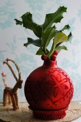 Get crafty this Christmas by turning an ornament into a beautiful vase. This Ornament Vase Holder is a fun recycled craft you can easily put together for the hostess.