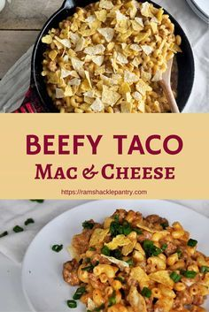 This Beefy Taco Mac & Cheese recipe is going to delight your taste buds and bring you back to home cooking memories. #macaroni #cheese #castiron #taco #skillet