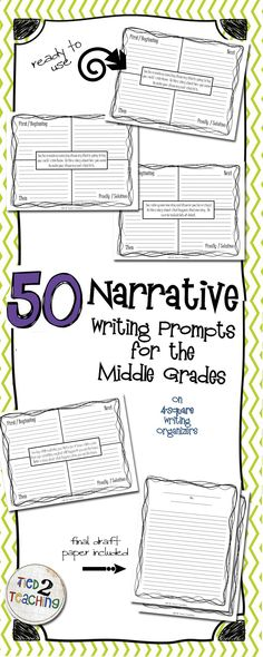 This resource comes with an extensive, Common Core Aligned, 50 Narrative Writing Prompts for the Middle Grades. Perfect for helping students organize their thinking as they structure and format their narrative writing, these 4-square prompts provide a number of high interest prompts to capture students interest and foster a love of writing within them.