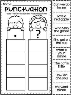 worksheet for kindergarten and first grade. Students sort the questions by whether they need a period or a question mark.Punctuation worksheet for kindergarten and first grade. Students sort the questions by whether they need a period or a question mark. Punctuation Activities, Grammar Worksheets, School Worksheets, Kindergarten Worksheets, Kindergarten Reading, First Grade Worksheets, Teaching Punctuation, 1st Grade Activities, Kindergarten Language Arts