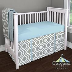 Congratulations to Rachel G. who won our August custom bedding giveaway with this very cute design!   Crib bedding in Gray Raindrops, Solid Mist, Solid Mist Minky. Created using the Nursery Designer® by Carousel Designs where you mix and match from hundreds of fabrics to create your own unique baby bedding. #carouseldesigns