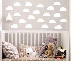 Cloud wall decals, nursery wall decals, white cloud, vinyl cloud stickers, cloud decals for bedroom walls, mini size clouds, kids bedroom