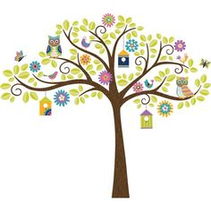 Such a fun nursery decor idea - a cheerful tree for the wall! This nursery design will grow with your child, too bbecause its not too baby-ish Hoot and Hangout Tree Kit Wall Decals - WallPops for Baby Peel and Stick Wall Art