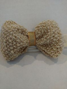 Infants Hand Knit Gold Sparkling Hair Bow with by SnugglebuggKnit