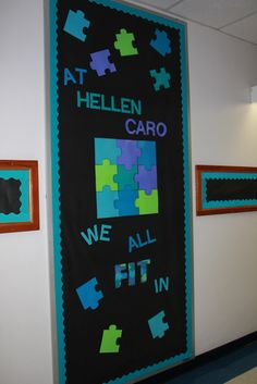 We ALL Fit In bulletin board/door display...first day activity//find your puzzle piece?