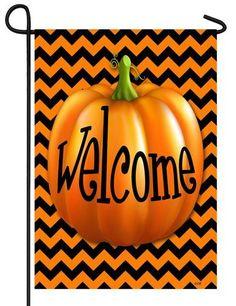 Chevron Welcome Pumpkin Garden Flag