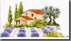 grille point de croix Provence, provençal, lavande, mas