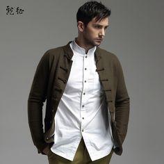 Woolen Cloth Chinese Tang Jacket for Men - Dark Green - Chinese Jackets - Men