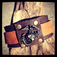 WWII US Marine Corps Badge on Handmade Leather by LuckyGirlEleven, $165.00