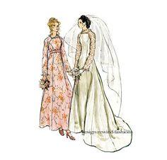 1970s Vogue 2809 WEDDING DRESS PATTERN Boho Bridal Gown with Square Neckline, Bridesmaid Dress Pattern by DesignRewindFashions Vintage & Modern Sewing Patterns on Etsy