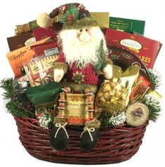 Deck The Halls, Large Christmas Gift Basket Large enough for a family to enjoy through the season, we recommend sending this Christmas gift basket early so they Christmas Baskets, Christmas Gift Baskets, Wooden Christmas Trees, Christmas Table Decorations, Christmas Clock, Christmas Diy, Christmas Candy, Xmas, Inexpensive Christmas Gifts
