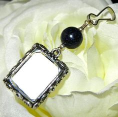 Wedding bouquet charm with picture frame. Dark blue sparkle by SmilingBlueDog, $8.99