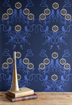 Yes, please! In the library, in the hallway, in the kitchen, anywhere!     squid and jellyfish wallpaper from Grow House Grow
