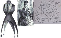 Cornelia 1877.: Jacket with pointed peplums of brown taffetas., with crépe lissé chemisette. Fig. 9. front part, fig. 10. side gore, fig. 11. back gore, fig. 12. chemise lining piece, fig. 13. sleeves, fig. 14.-15. cuffs in half.
