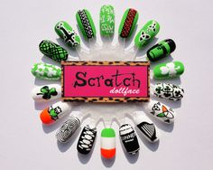 St Patricks Day nails with Orly Fresh, Melt your popsicle & White out by Scratch Dollface.love the ghillie! Nail Designs Pictures, Cool Nail Designs, Nail Art Wheel, Flag Nails, St Patricks Day Nails, Holiday Nail Art, Get Nails, Types Of Nails, Stylish Nails