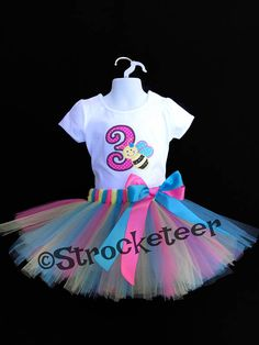 3619fbf53538f Girls 3rd Third Birthday Outfit with Bee and Number -All Numbers Available  - Tutu &