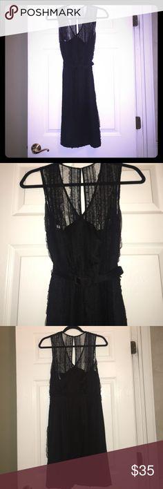 Little black dress! Lace blk dress with belt! Great for desk to dinner! JS Collections Dresses