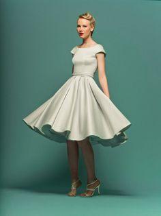 Modest Retro 50s Knee Length Formal Wedding Dress