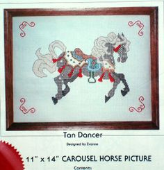 "cross stitch kit Carousel Horse Tan Dancer pony 11"" x 14"" via FindersofKeepers, $6.00 at Etsy 11101"