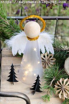 DIY illuminated Christmas angel made of star foil
