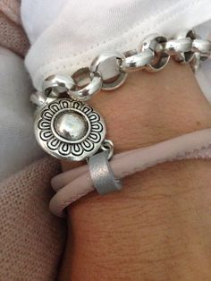 Soft pink leather bracelet with charm ღ Created by Dunya