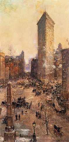 Commission your favorite Colin Campbell Cooper oil paintings from thousands of available paintings. All Colin Campbell Cooper paintings are hand painted and include a money-back guarantee. American Impressionism, Post Impressionism, Dallas Museums, Building Painting, Flatiron Building, New York Art, A4 Poster, Vintage Artwork, City Art