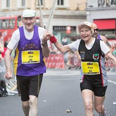 "Tag your VALENTINE!! ❤️👇 . . (ENGLISH): HAPPY VALENTINE'S DAY Kay and Joe O'Regan finishing the Cork City Marathon in southern Ireland together, this was the 142nd marathon finish between the two of them, they ran the last half-mile holding hands —just as they did while finishing their first marathon together 30 years ago! They're both 80 years old so Kay's performance has made her the fastest 80-year-old female in the U.K. ""Running is a part of our lives. And it hopefully will be for a…"