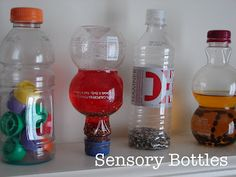 Sensory Bottles from empty recycled plastic bottles, perfect for Earth Day!