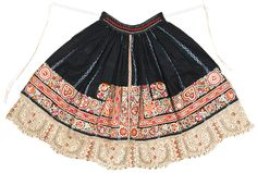 Woman's apron. Early 20th century Czechoslovakia: Moravia, Kyjov or Ratiskovice Plain weave; Embroidered; Bobbin lace; Resist dyed, plangi Cotton and vegetable dye (indigo) 24 1/8 x 42 1/4 in. (61.3 x 107 cm) overall Henry Art Gallery, collected by Blanche Payne, Acc. # 78.3-50