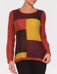 This Alison Sheri light knit sweater is fun for any chilly day. Wide round neck and multi colored colored pill gives this sweater a comfy look. 80% Acrylic and 20% Nylon.