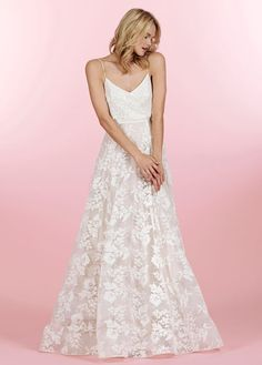 Style HP6459 > Bridal Gowns, Wedding dresses > Love Poets Society Collection > by Hayley Paige (Shown Ivory Sequin all over Slip dress with Ivory/Cashmere Lace A-line skirt, double Horsehair Trim & Chapel Train) #Poets Collection pieces can be Mixed & Matched with other Poets Styles#